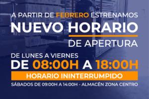 horario almacen Madrid y Leganés initerrumpdio