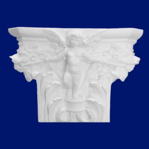 Capitel de columna de escayola con ángel