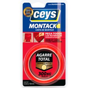 Montack cinta doble cara CEYS muy resistente y fácil de usar.